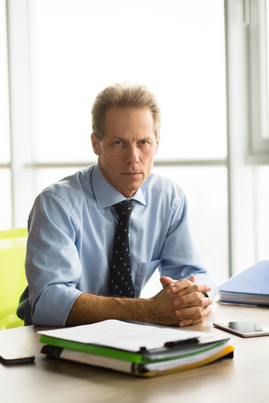 colloquium: Angry businessman in office Stock Photo