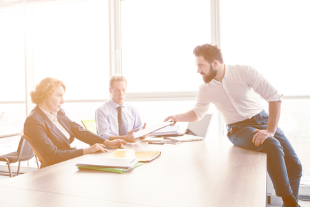 mobbing: Job interview in office Stock Photo