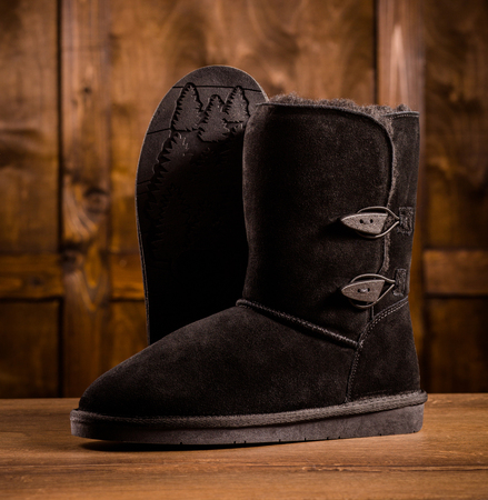 Pair of warm suede boots.