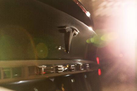 Beautiful Back Black Part of Tesla Model X. Big Logo of Electric Vehicle Close-Up. Kyiv, Ukraine, F-Drive showroom 13 of february 2018. Editorial