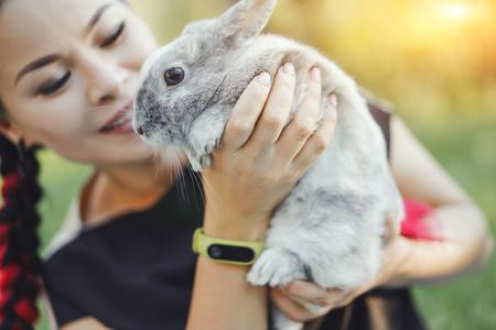 Nahaufnahme von Pretty Asian Hugging Bunny auf Summer Nature Summer Standard-Bild