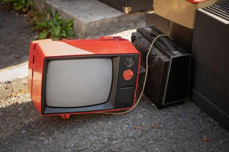 Retro Old Plastic Body Black And White TV Set Reciever On Street Or Flea Market