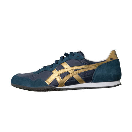 Blue Asics brand sneakers with gold accents. Onitsuka Tiger brand. Convenient easy lace-up shoes for sport isolated on color background. Lifestyle concept. Side view. May, 2019. Kiev, Ukraine. Editöryel