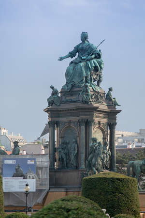 Monument to Empress against sky in place of Maria Theresa on sky background. April, 2013. Vienna, Austria.