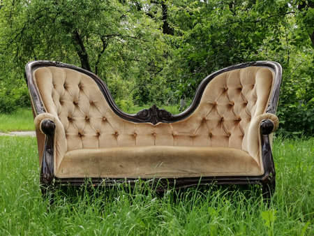 Luxury vintage sofa at green grass in the garden. Relax in Spring time concept. Front view.