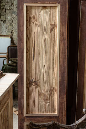 Wooden door template in carpentry workshop. High quality photo.