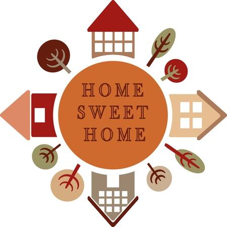 icono home: c�rculo con diferentes casas y �rboles, hogar dulce hogar Vectores
