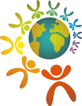 erde h�nde: Gemeinschaft von Menschen schlossen sich rund um den Globus Illustration