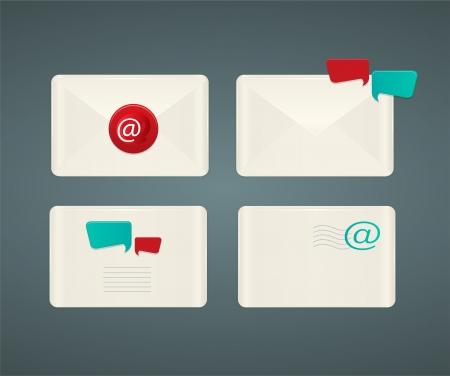bubble speach: Set of paper Email envelopes