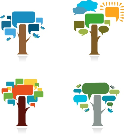 collection four trees with speach bubble Vector