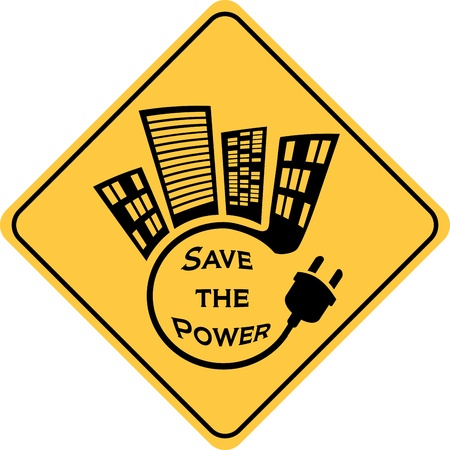 energy consumption: save the power yellow sign Illustration