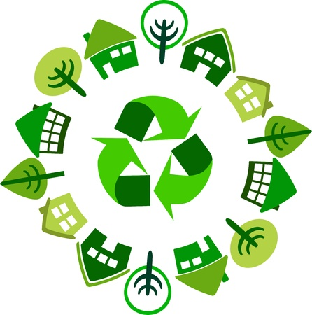 recycle circle of houses Stock Vector - 19373792