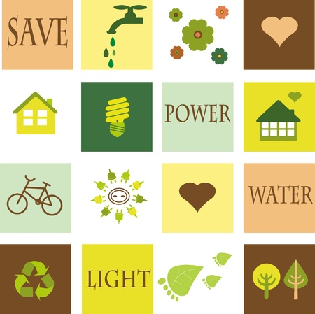 save energy icons: save the environment, eco set