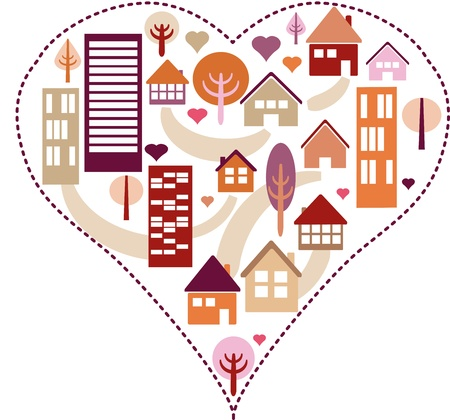 Heart pattern with different houses and trees Vector