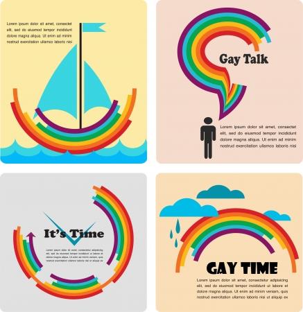 bandera gay: cuatro iconos gays, infografías Vectores