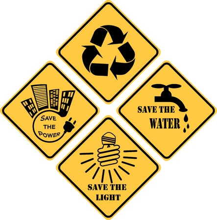 recycling and ecological set of yellow signs Vector
