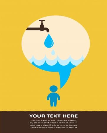 ahorrar agua: guardar el poster del agua con la lluvia del grifo Vectores