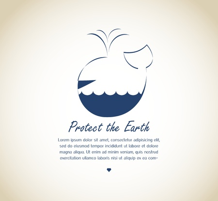 small business concept: save the earth, whale on retro background