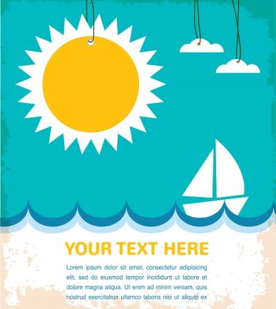 夏には、ヨットで海  イラスト・ベクター素材