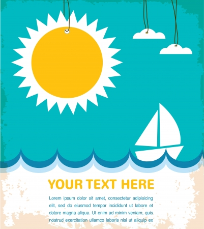 summer time, sea with yacht Vector