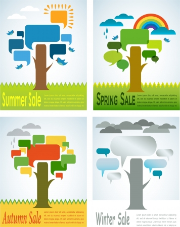 four seasons sale with four speech trees Stock Vector - 21953342