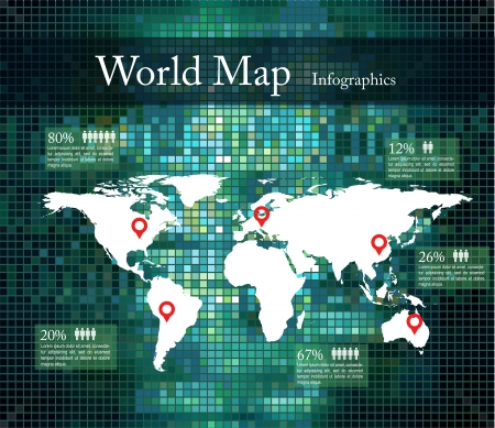 Digital Earth, green infographics Vector