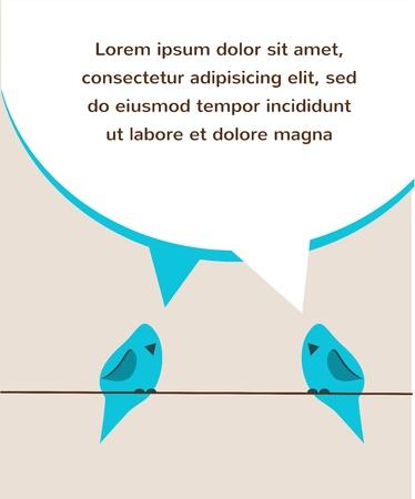 blue bird: communication of two blue birds Illustration