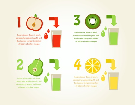 preparation of healthy fruit juices.  Vector