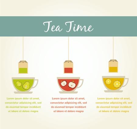 english tea: tea time. fruit tea infographics Illustration