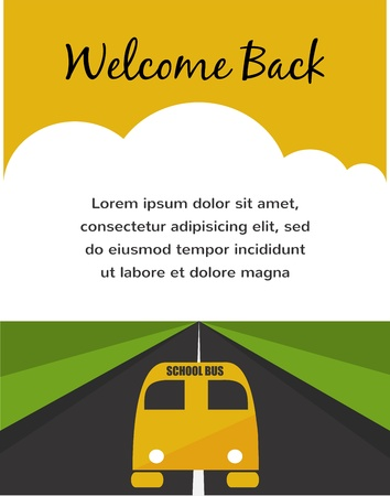 Back to school. Yellow School Bus background Vector