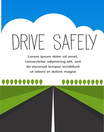 drive safe, long empty road Vector