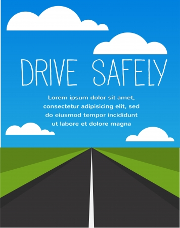 drive safe, long empty road Stock Vector - 22140223