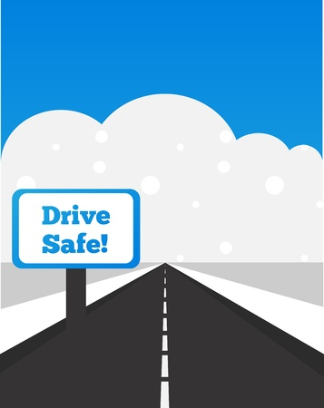 time drive: drive carefully at winter time Illustration