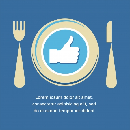 thumbs up icon: Thumbs Up icon with plate, fork and knife  like food