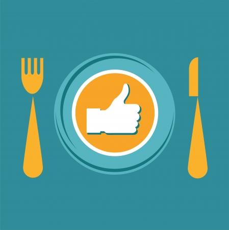 nice food: Значок Недурно с плитой, вилкой и ножом, как продукты питания Иллюстрация