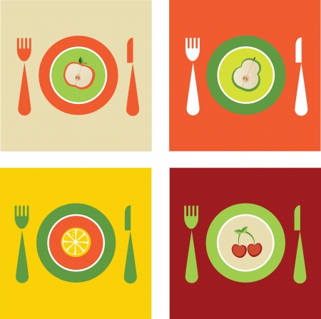 collection of organic anf fresh fruits on plates Ilustração