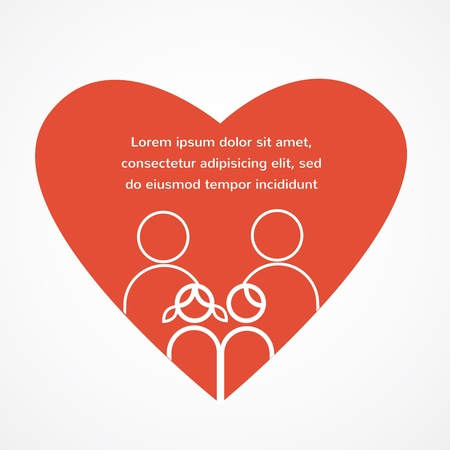 love of a family; red heart with parents and kids Vector