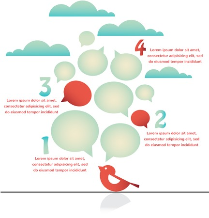 tweet balloon: infographics of bird on a wire with speech bubbles