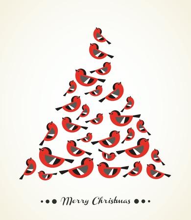 Retro Christmas Card - Birds on Christmas Tree - for invitation, congratulation in vector Stock Vector - 22859261