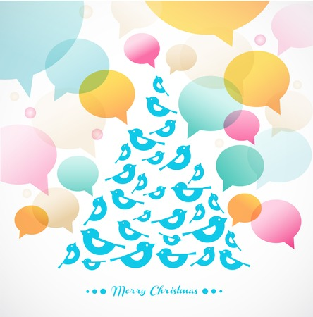 abstract vector Christmas tree with speech bubbles Vector