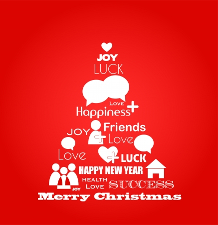 christmas design: wensen voor Kerstmis, blauwe vogel boom met sociale media iconen