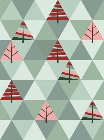 ベクトルの木が幾何学的図形のレトロなパターン。カラフルなモザイクのクリスマスのバナー。