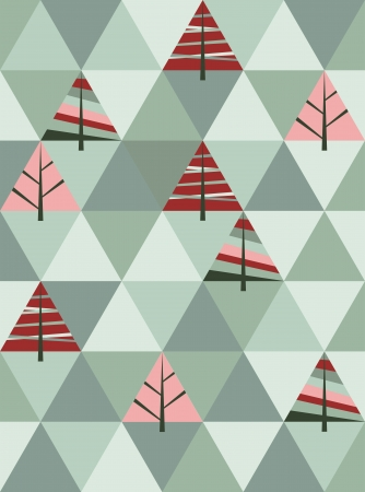 Vector retro pattern of geometric shapes with trees. Colorful mosaic christmas banner.