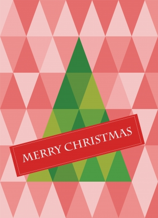 retro pattern of geometric shapes with christmas tree. Vector