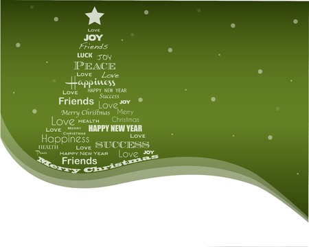Christmas background with Christmas tree full of greetings