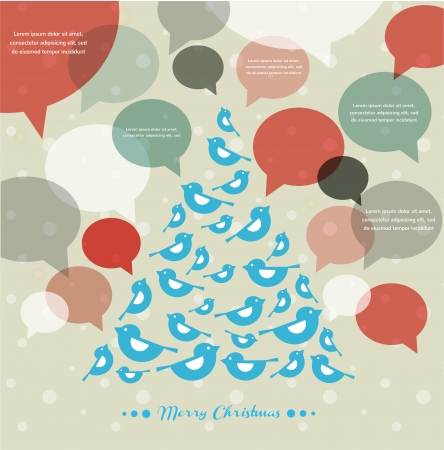 tweet balloon: abstract vector Christmas tree with speech bubbles