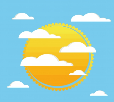 sky with clouds and sun  Vector