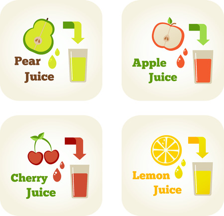 Summer holidays vector illustration set with fruit juices