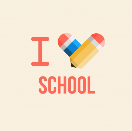 i love school, back to school illustration  Vector
