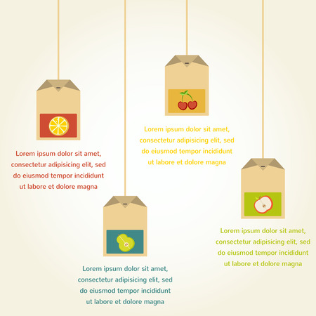 teabag: tea bags with fruit flavor , vector infographics  Illustration